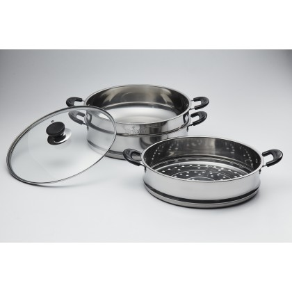 Shefu 32cm 3 Tier Steamer Pot with Tempered Glass Stainless Steel Wok