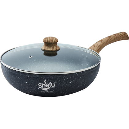Shefu 30cm Non-stick Marble Stone Aluminium Wok with Tempered Glass Lid