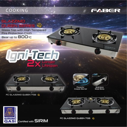 Faber (3 Burner) Glass Gas Stove FC GLAZZIMO QUEEN 7133