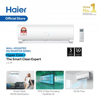 Haier 1.0HP Air Conditioner Hyper Cool Plus R32 Inverter 5 Star HSU-10VFD19